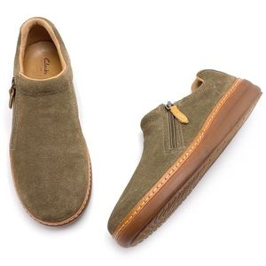 Clarks Artisan Olive Green Suede Side Zip Loafers